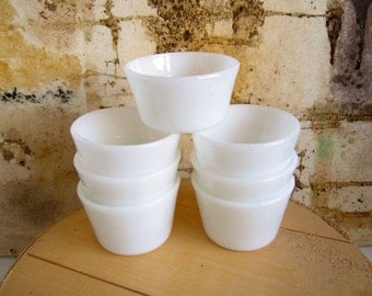 7 Vintage White Custard Cups Milk Glass Serving Bowls