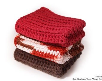 CUSTOM Washcloths (Set of 3) - Cotton, Dishcloths, Dish, Wash, Cloths, Crocheted, Kitchen, Bath, Absorbent, CHOICE of COLOR, Made to Order