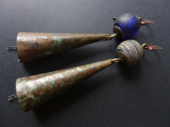 Perantique. Blue tin cone earrings.
