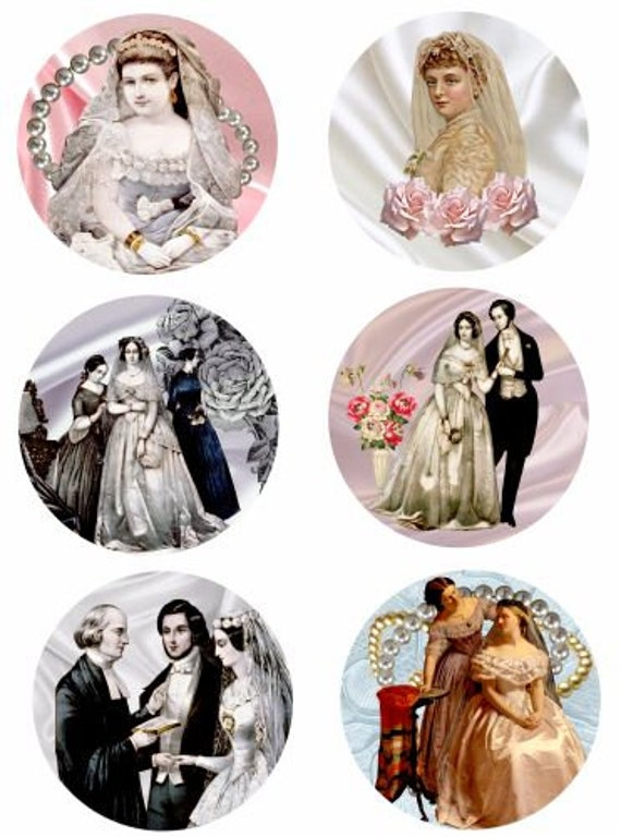 "Victorian brides clip art collage sheet 3.5"" x 3.5"" circles silk fabric pearls digital download graphics image wedding craft printables"