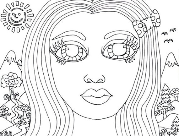 Big Eye Girl forest coloring page clip art image graphics digital download flowers black and white art tree colouring page printable