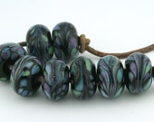 Midnight Luau Handmade Glass Lampwork Beads (8 Count) by Pink Beach Studios - SRA (2525)