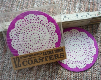 Doily Letterpress Coasters - set of 12