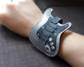 New!!! Item Bracelets Cuff  Strat Guitar Silver color gift for Guitarist