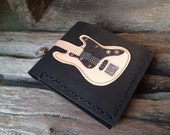 New!!!! Hand Stitch Men Wallet Bass Guitar & Wood Color leather