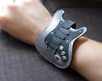 New!!! Item Bracelets Cuff  Strat Guitar Silver color gift for Guitarist