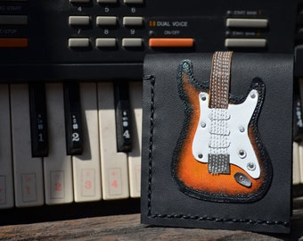 Free!! initials stamp Hand Stitch Men Wallet  Stratocaster Guitar & Sunburst Color leather