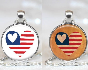 Patriotic Heart Americana Changeable Magnetic Pendant Necklace with Organza Bag - Choose Graphic