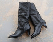 vintage 1980s Leather Boots - 80s Black Leather Heeled Slouch Boots Deadstock Boots Sz 10 41