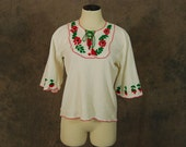 vintage 70s Peasant Blouse - Boho Mexican Folk Floral Embroidered Bell Sleeve Cotton Gauze Shirt S Mz S