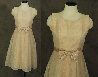 vintage 50s Party Dress - 1950s Pink Flocked Organdy Glitter Formal Dress Sz M
