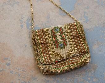 vintage 1960s Purse - 60s Floral Tapestry Bag - Small Gold Lurex Tapestry Shoulder bag