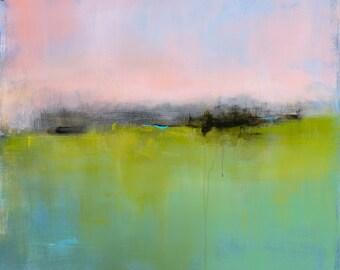 Minimalist Abstract Landscape Painting, Large Acrylic Painting, Modern Art, Original Painting, Minimalism, Coastal Decor, Green and Pink Art