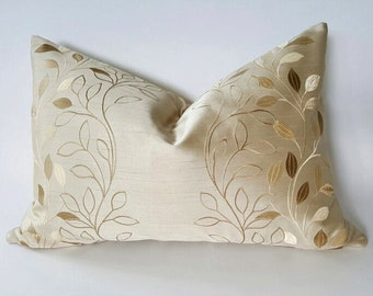 Gold Leaf Pillow Cover, Cream Contemporary Pillows, Embroidered Beige Pillows, Unique Pillows, Luxury Gift for Mom, 16x26 Oblong