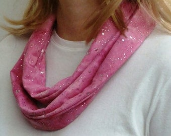 Pink Shimmer Infinity Scarf - Silver Glitter Circle Scarf - Loop Scarf - Forever Scarf - Rhode Island