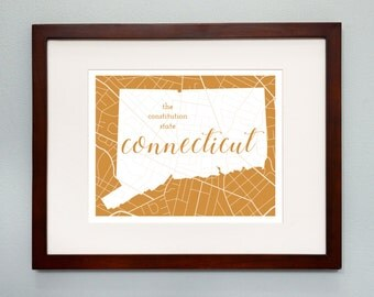 Connecticut State Map Print - 8x10 Wall Art - Connecticut State Nickname - Typography - Housewarming Gift