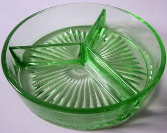 Vintage Relish Dish Vaseline Green Glass Ornate Divided Tray Rare Color Starburst Condiment