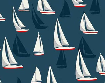 Sail Boats on Blue Cotton Fabric by Makower from their Sea View Collection, Yachts on Dark Blue Patterned Cotton Fabric