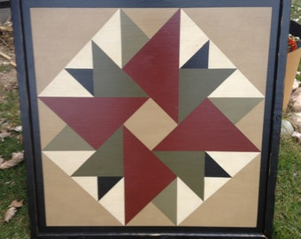 PRiMiTiVe Hand-Painted Barn Quilt - 3' x 3' Double Aster Pattern (Ivy Version)