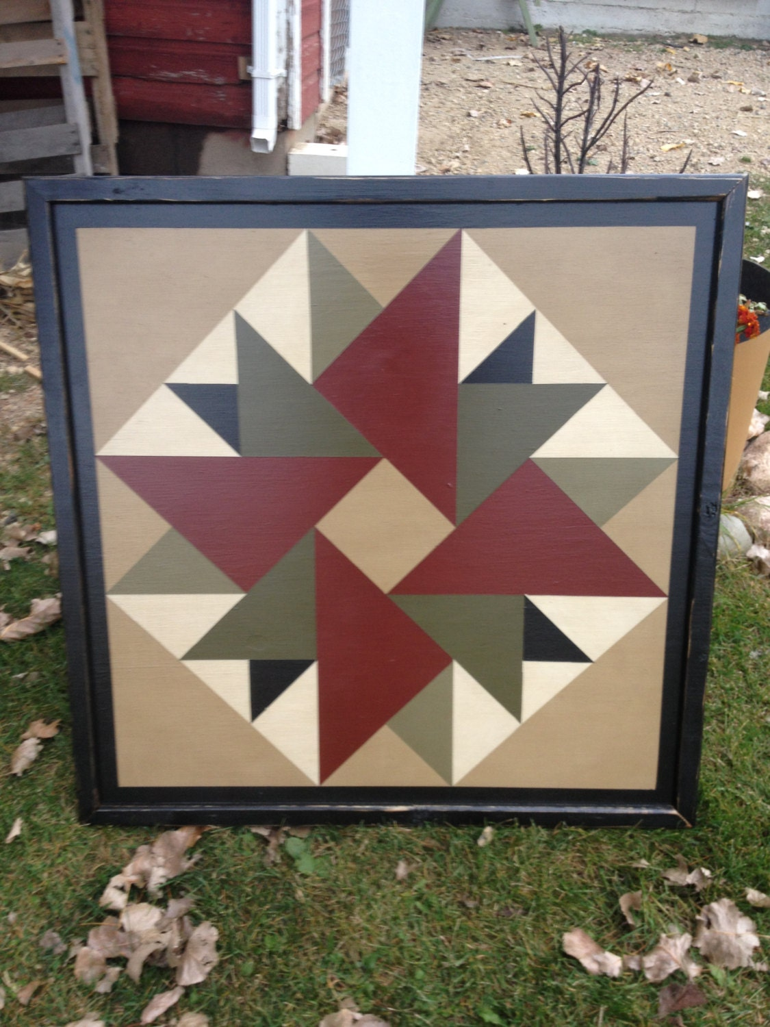 Primitive Hand Painted Barn Quilt 3 X 3 Double