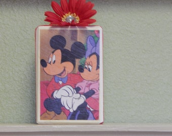 Wooden Shelf Sitter Sign Disney Mickey and Minnie Mouse