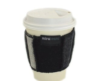 Coffee Cup Cozy in Upcycled Wool - Java Jacket - Charcoal Grey Black