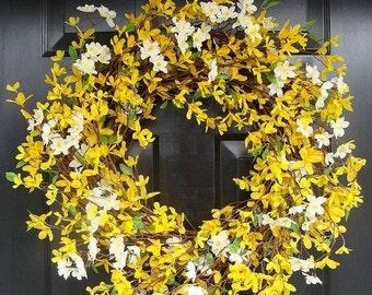 FALL WREATH SALE Cherry Blossom and Forsythia Wreath- Yellow Wreath- Spring Decor- Summer Wreath