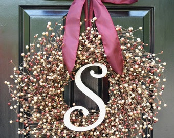 Front Door Wreath- Fall Wreath- Christmas Wreaths- Burgundy Berries- Indoor Wreath- Year Round Decoration- Winter Decor- Autumn Wreaths-