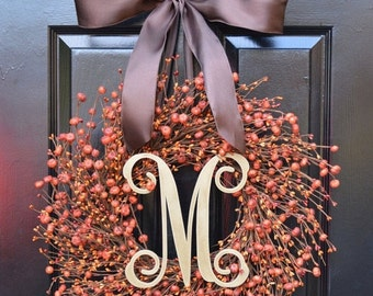 FALL WREATH SALE Thanksgiving Wreath- Fall Wreath- Pumpkin Berry Wreath- Ready to Ship Fall Wreath- Autumn Decoration- Orange Berries-
