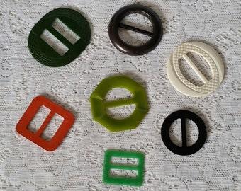 Vintage Bakelite Belt Buckles, 7 Assorted Styles, Shapes and Colors