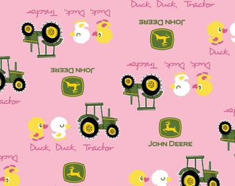 Pink John Deere Fabric Nursery Tractor Pink Cotton Fabric by Springs Creative