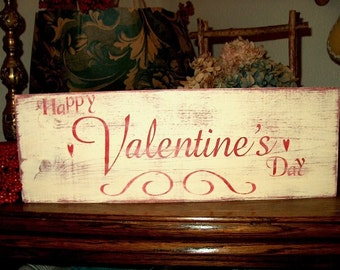 Valentine's Day Sign Primitive Shabby Distressed