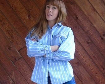 30% off ... Chambray Denim Striped LS Dolman Sleeve Hi Low Button Down Shirt - Vintage 80s - M L