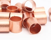 Copper Tube Beads - 12 Raw Copper Tube Beads  (10x10mm) D533