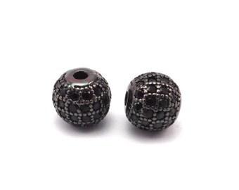 1 Micro Pave CZ Cubic Zirconia  Bead 8mm  W00003