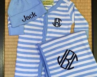 3 piece striped monogrammed baby boy gift set. Baby Boy Gift Set. 0-6 month size.