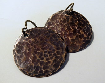 Textured Copper Earrings with Dark Patina