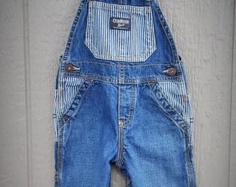 Childrens Retro Denim Blue Stripe OshKosh Overalls Size 18 mos.