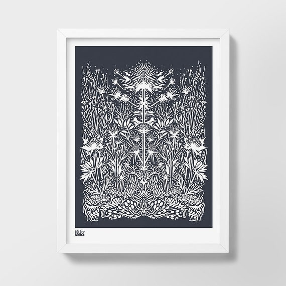 Sea Holly Screen Print, Plant Art Print, Nature Wall Art, Flower Screen Print, Sea Holly Wall Art