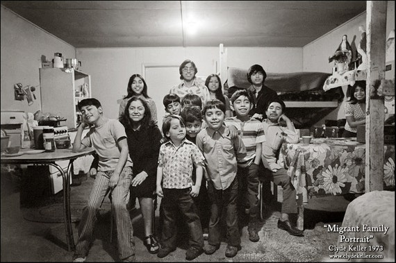 MIGRANT FAMILY PORTRAIT, Dykes Camp, Clyde Keller photo, 1973, Fine Art Print, Black and White, Signed