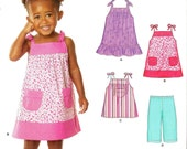 Girls Sundress In 2 Lengths and Capris Pattern - Sizes one half, 1, 2, 3, 4, New Look 6796 - New Uncut Pattern - OOP