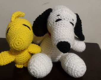Snoopy and Woodstock amigurumi