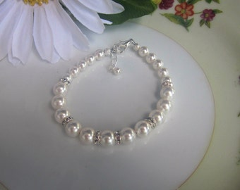 Pearl Bridal Bracelet, Rhinestones, Bridal Jewelry, Wedding Jewelry, Bridesmaids Gifts, Dinner for Two