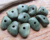 STONE BEADS Green Slag Stone Beads Beach Stone Beads Drilled Stone Supply 3mm