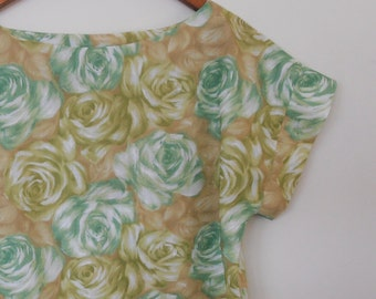 painterly roses in greens...vintage fabric loose fit summer top
