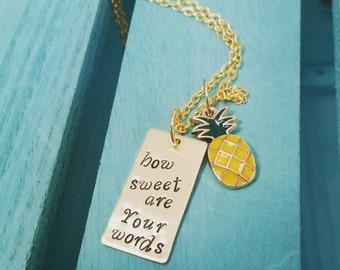 Hand Stamped Pineapple Necklace How Sweet Are Your Words