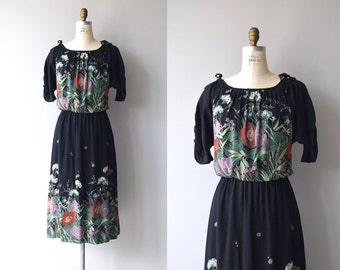 Secret Path dress | vintage 1970s dress | black floral rayon 70s dress