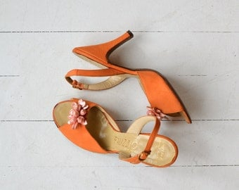 Tangelo heels | vintage 1950s shoes | orange 50s shoes 6.5