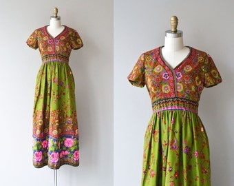 Ole Borden for Rembrandt dress | vintage 1960s maxi dress | floral print 60s dress