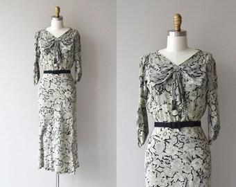 Chatoyant silk dress | vintage 1930s dress | printed silk 30s dress